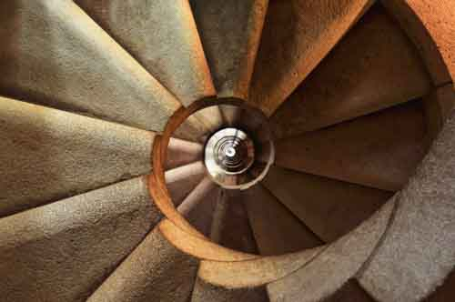 Abstract Spiral Staircase From Below