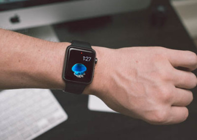 Apple Sport Watch Black On Mans Wrist In An Office