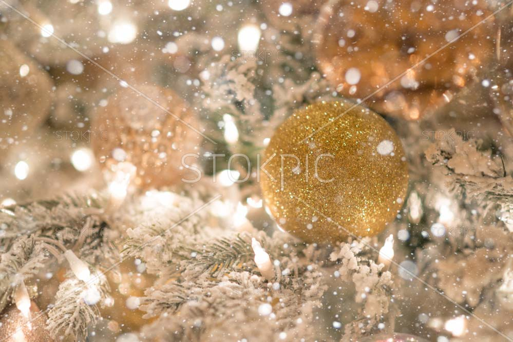 Christmas Tree Decoration With Gold Glitter Covered In snow