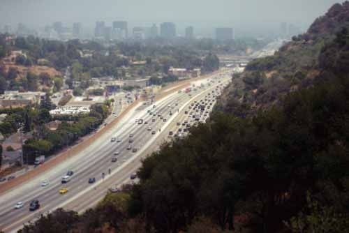 Los Angeles Cityscape Highway With Cars